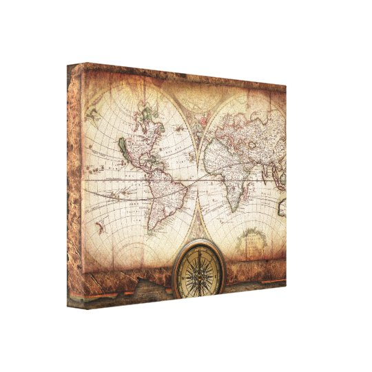 Old World Map and Compass  Wrapped Canvas