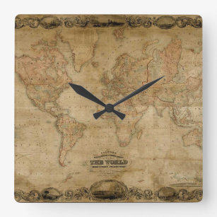 Old world map wall clocks zazzle old world map antique history designer clock gumiabroncs Images