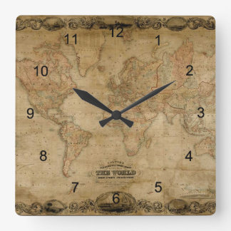 Old World Map Antique History Designer Clock