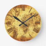 Old World Map Antique History Designer Clock