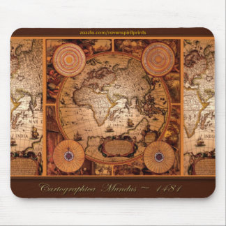 Old World Map Art - 1481 Mouse Pads