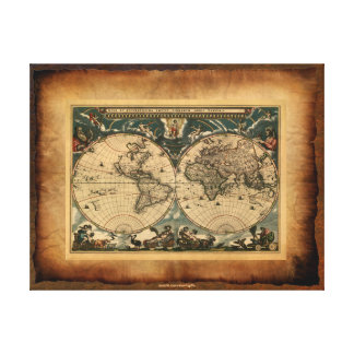 Old World Map Art Poster Gallery Wrapped Canvas