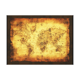 Old World Map Art Print Stretched Canvas Print