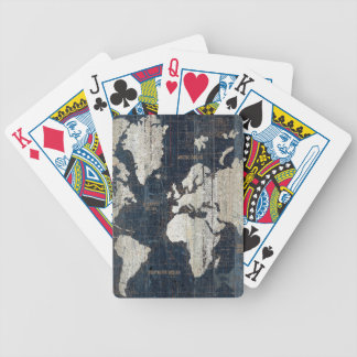 Old World Map Blue Bicycle Playing Cards