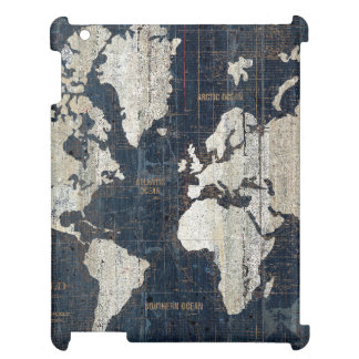 Old World Map Blue iPad Cases