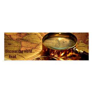 old world map bookmark business card