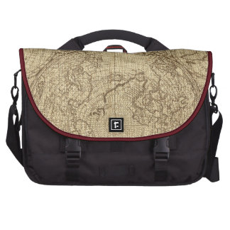 Old World Map Burlap Brown Laptop Messenger Bag