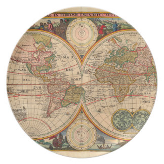 Old World Map by Nicolaas Visscher Plate