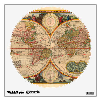 Vintage map wall decals wall stickers zazzle old world map by nicolaas visscher wall sticker gumiabroncs Choice Image