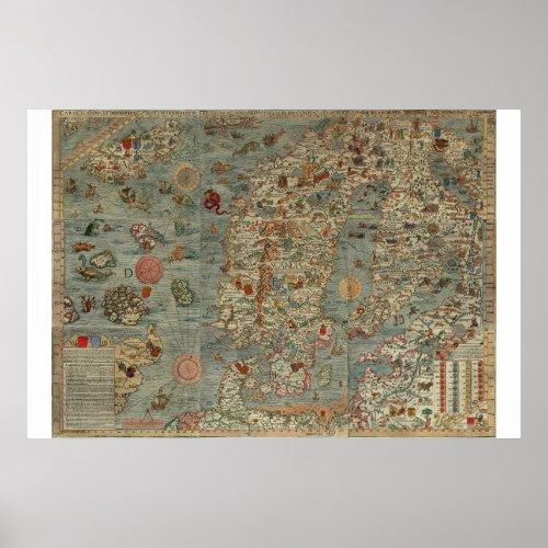 Old World Map Carta Marina Poster