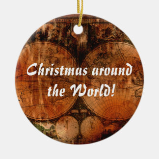 Old World Map Christmas Greetings Ceramic Ornament