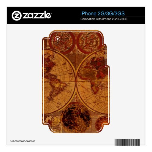 Old World Map Classc Gift Design Skins For The iPhone 3G