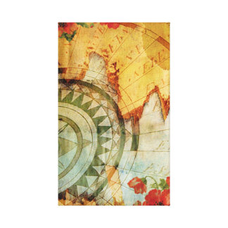 Old World Map Compass & Poppies Pastiche Print