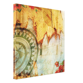 Old World Map Compass & Poppies Pastiche Print Sq