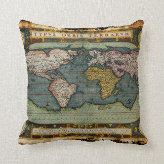 Old World Map Decor Cushion Throw Pillow