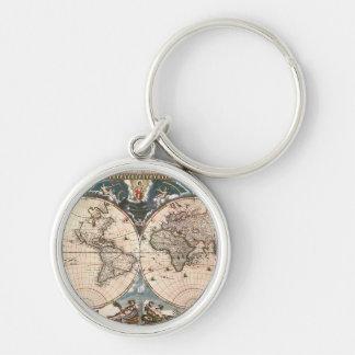 Old World Map Designer Gift Keychain