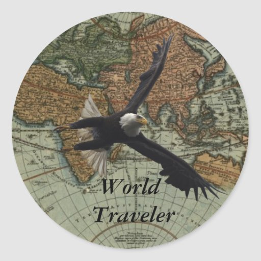Old World Map & Eagle Stickers