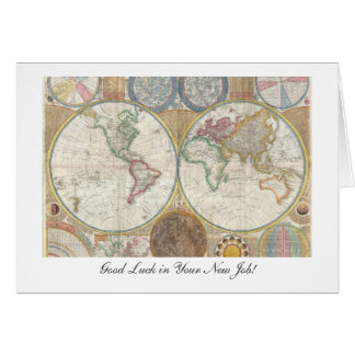 Old World Map from 1794- Good Luck in Your New Job Card
