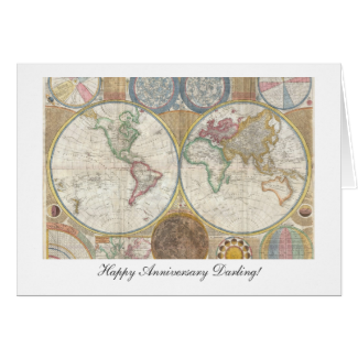 Old World Map from 1794 - Happy Anniversary Greeting Card