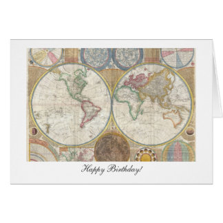 Old World Map from 1794 - Happy Birthday Greeting Card