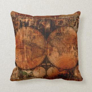 Old World Map Grunge Decor Cushion