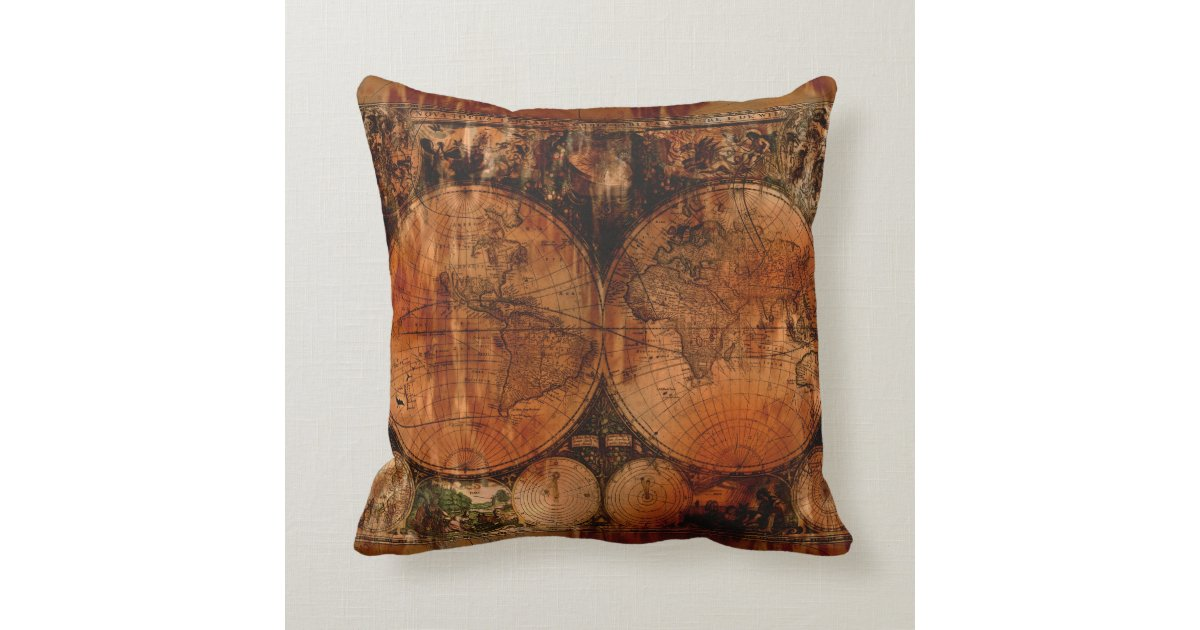 Old World Map Grunge Decor Cushion Throw Pillow Zazzle