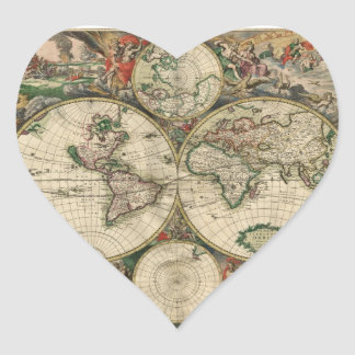 Old world map heart sticker