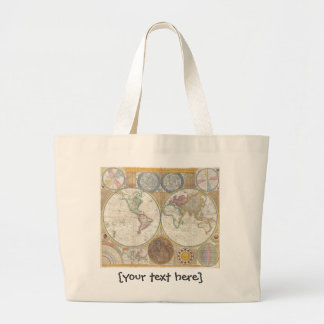 Old World Map In Double Hemispheres, 1794 Jumbo Tote Bag