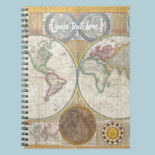 Old World Map In Double Hemispheres, 1794 Spiral Notebook
