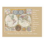 Old World Map In Double Hemispheres, 1794 Postcard