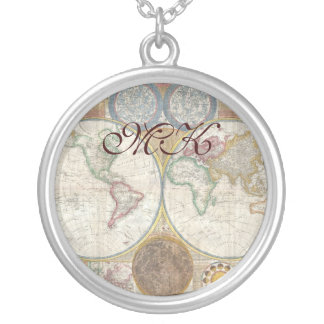 Old World Map In Double Hemispheres, 1794 Silver Plated Necklace