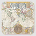 Old World Map In Double Hemispheres, 1794 Square Sticker
