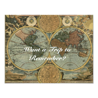 Old World Map Invitation Cards