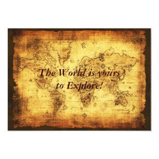 "Old World Map Invitation Cards 5"" X 7"" Invitation Card"