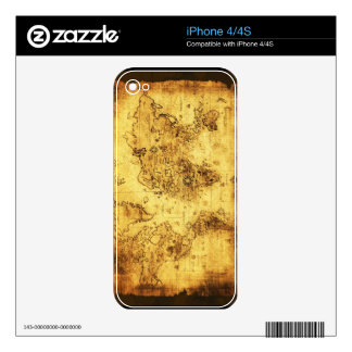 Old World Map iPhone Skin Decals For iPhone 4