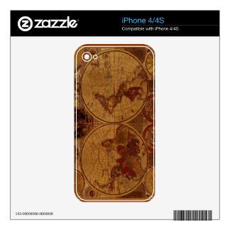Old World Map iPhone Skin Decals For iPhone 4S