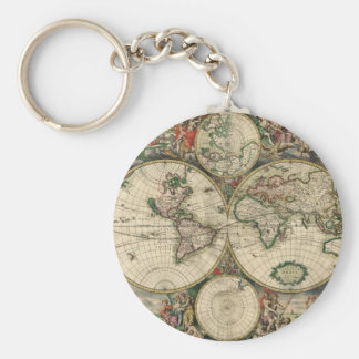 Old world map keychain