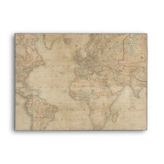 OLD WORLD MAP lighter color Greeting Card Envelope