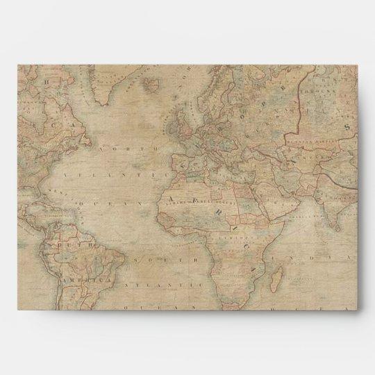 OLD WORLD MAP lighter color Greeting Card Envelope