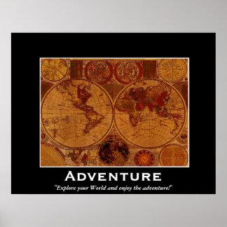 Old World Map Motivational Poster