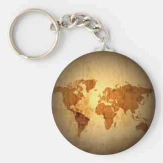 old world map on vintage crinkled paper keychain