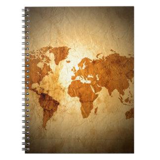 old world map on vintage crinkled paper journal