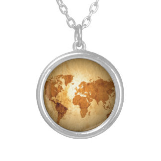 old world map on vintage crinkled paper silver plated necklace