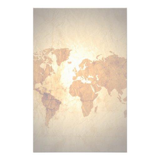 old world map on vintage crinkled paper stationery design