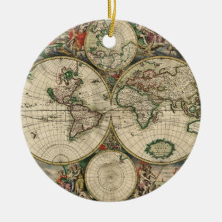 Old world map ornaments