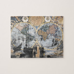 Old world map jigsaw puzzles zazzle old world map out to sea jigsaw puzzle gumiabroncs Image collections