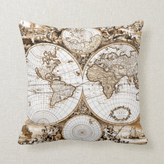 Old World Map Pillow