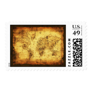 Old World Map Postage Stamp