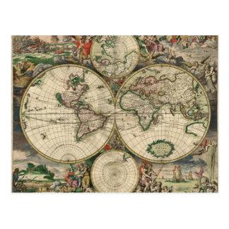 Old world map postcard