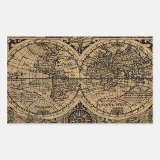 Old World Map Rectangular Sticker